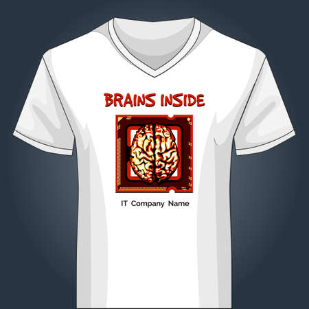 v neck: Template of white V neck shirt with human brain inside main PC unit and wording brains inside