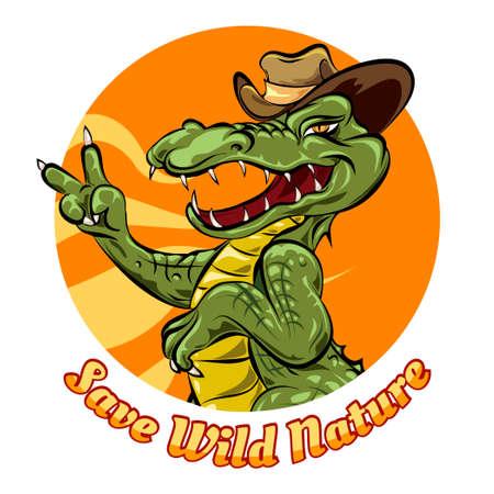 ontwerp van het glimlachen alligator en formulering save de natuur op wit wordt geïsoleerd