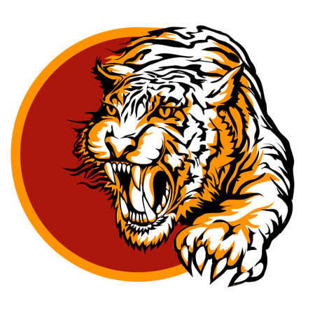 Roaring tiger icon design drawn in tattoo style