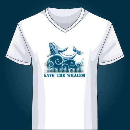 v neck: Template of white V neck shirt with jumping whale drawn with using half-tone pattern
