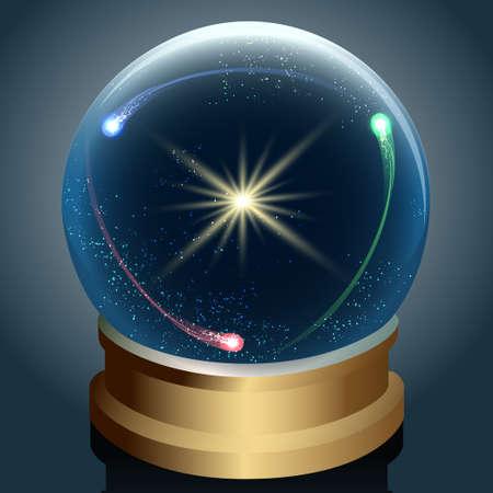 Illustratie van de Kristallen bol met sterren en kometen binnenkant