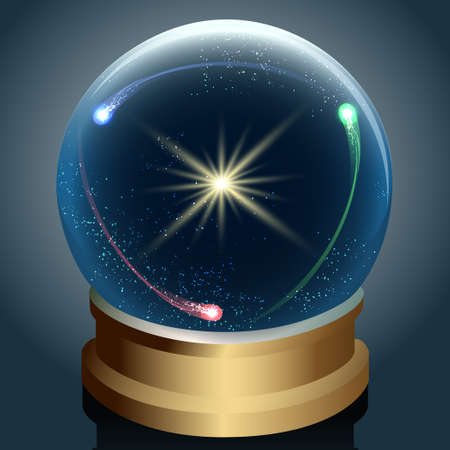 Illustration of Crystal ball with star and comets inside