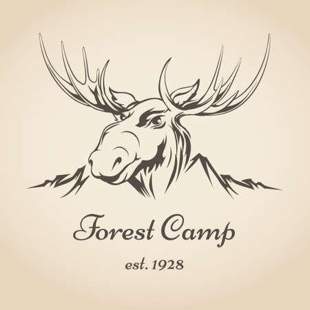 Bos kamperen of toeristische icoon met elanden hoofd en bergwand trekken in retro stijl