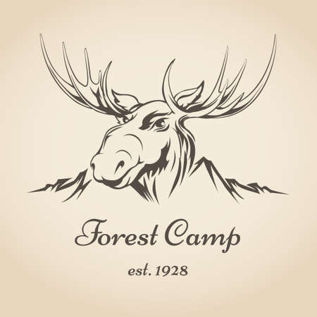Forest camp or touristic icon with moose head and mountain side draw in retro style