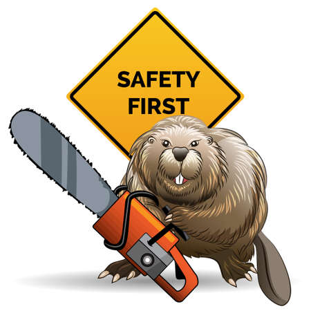Humorous illustration of beaver with chainsaw against sign with wording Safety First