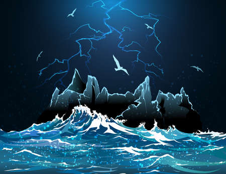 wet flies: Illustration of lightning in the night sky against island in the stormy ocean