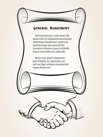 Illustartion of roll with place for text of agreement and handshake sign drawn in retro engraving style