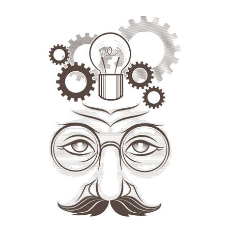 Illustration of human head, gears and lamp as thinking process drawn in engraving retro style isolated on white
