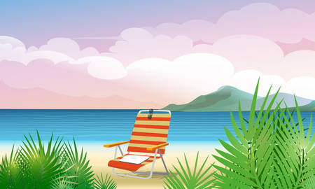chaise lounge: Summer tropical seascape with chaise lounge on a beach. Good for your text or banner. Illustration