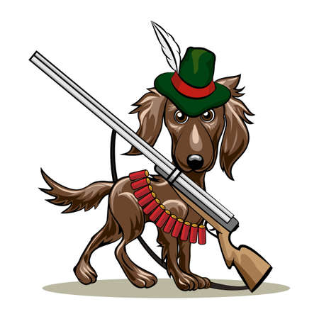 trained: Humorous illustration of dog in a hunter hat and gun with cartridges. Isolated on white background.