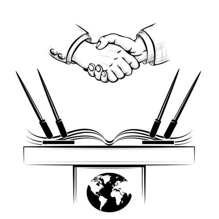 Handshake above political or commercial agreement.Isolated on white background. Illustration
