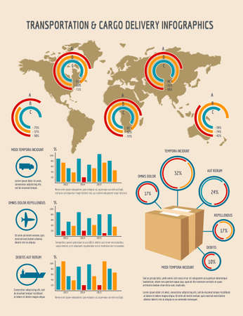 Infographics template for transportation or cargo delivery business projects