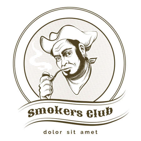 smokers: Smokers club label or emblem with old pirate. Isolated on white background. Only free fonts used.