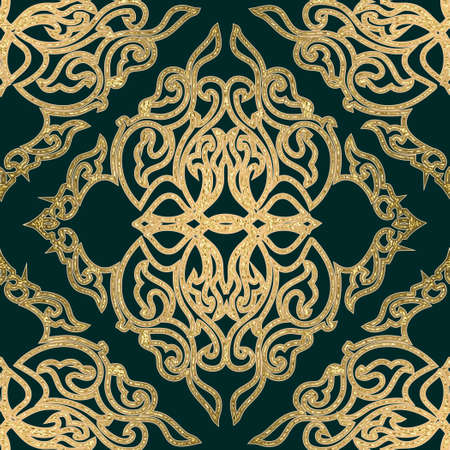 Seamless abstract medieval forged golden pattern. Ilustração