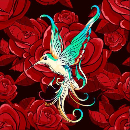 Flying hummingbird against flower drawn in cartoon style. Illustration