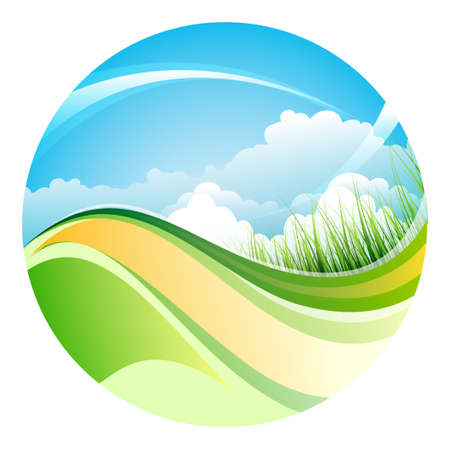 sky grass: Sphere with shiny summer landscape. Sky, grass and clouds. Isolate on white. Illustration