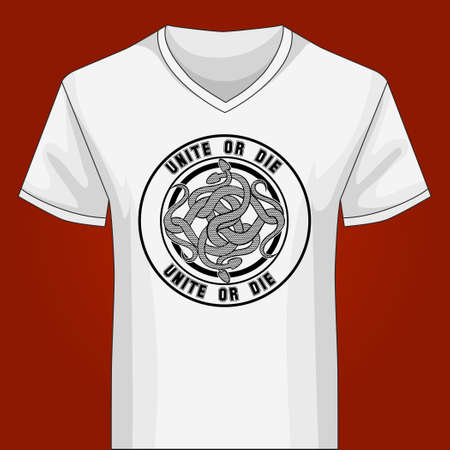 v neck: Template of white V neck shirt with Snake Knot and lettering Unite or Die. Only free font used. Illustration