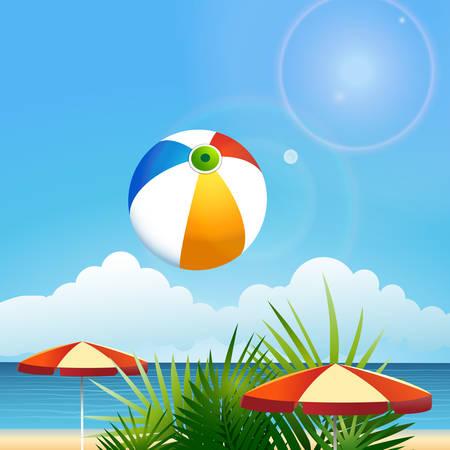 sun umbrellas: Summer beach theme. Flying ball against palm nrees and sun umbrellas. Illustration