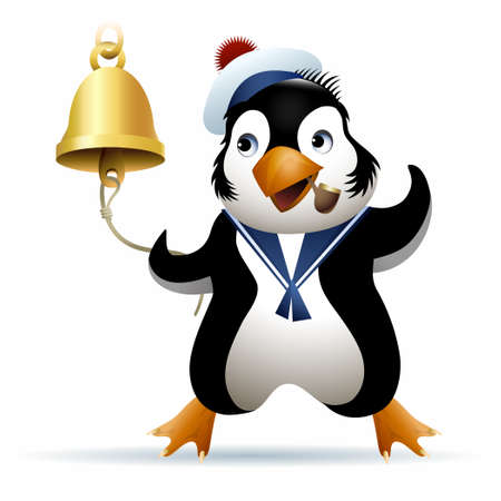 noon: Seaman penguin in sailor cap rings a noon bell. Illustration drawn in cartoon style.