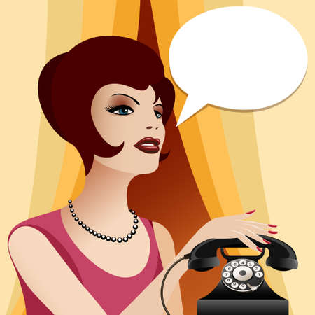 business phone: Woman in vintage clothes and pearl necklace with retro phone. Empty think bubble for your text.