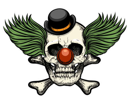 Clown skull in circus hat. Isolated on white background. Retro style.