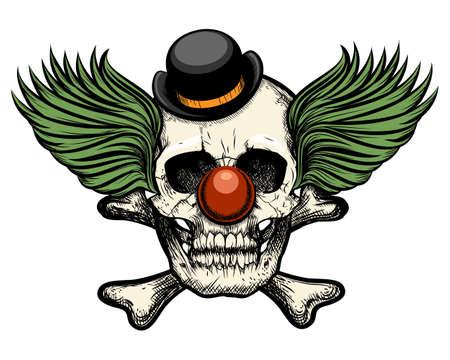 Clown schedel in circus hoed. Geïsoleerd op een witte achtergrond. Retro stijl.