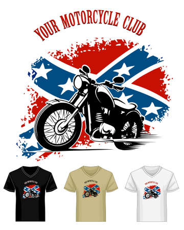 v neck: Template of Bikers Club Emblem Print drawn in different color variations. Retro motorcycle against patriotic confederate flag. Isolated on white. No gradients.