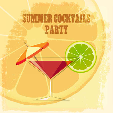 lime slice: Summer Cocktail Party Theme. Cocktail drink with lime slice and umbrella on grunge background.