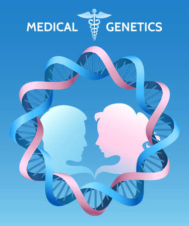 Medical genetics or Family medicine template. Silhouettes of couple and dna helix.