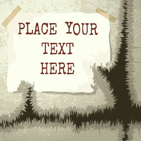 Copy text template isolated on textured grunge background. Illustration