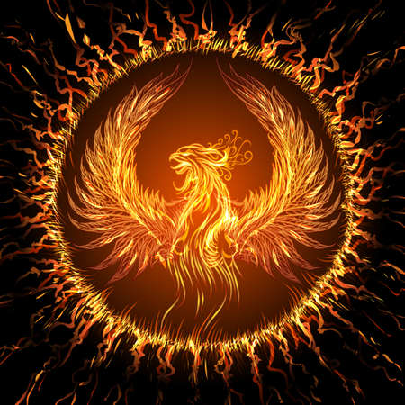 Phoenix in circular frame. Illustration in fantasy style.