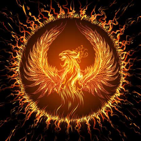 Phoenix in circulaire frame. Illustratie in fantasy stijl.