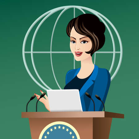campaign promises: Beautiful elegant politician woman giving a speech in front of a microphones.