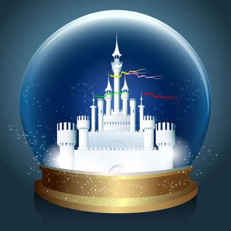 Vector bright glowing crystal ball with Magic fantasy castle inside. Vettoriali