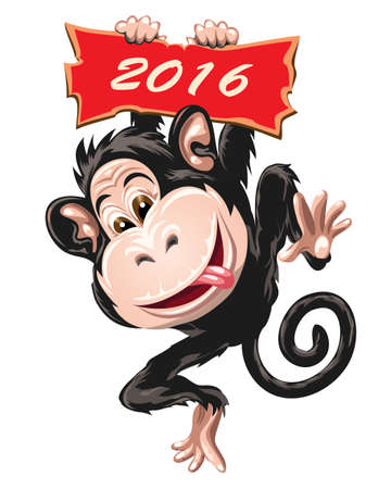 Fire Monkey symbol 2016. Illustration in cartoon style. Isolated on white.
