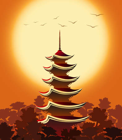 Eastern landscape with Pagoda in mountains at sunset. Colorful Illustration. Illustration
