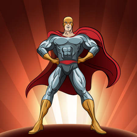 guard duty: Superhero figure standing proud. Illlustration in comic style.
