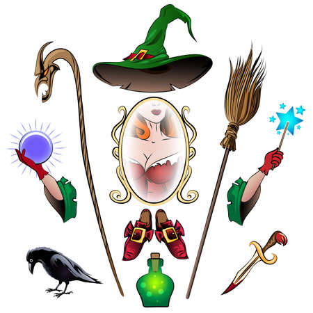 poison bottle: Witch accessories colorful set. Broom, crystal ball, ritual knife, staff, magic shoes, magic mirror, poison bottle, magic wand drawn in cartoon style. Isolated on white.