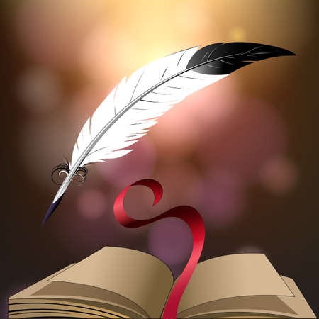 quill pen: Open book and quill pen against fantasy background.