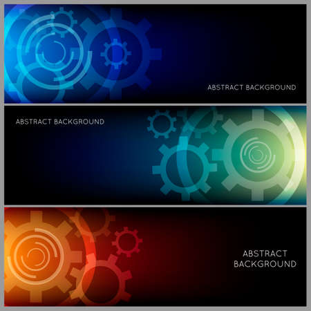 Horizontal abstract industrial background set. Gear pattern in three color variations.