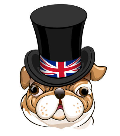bandera de gran breta�a: English Bulldog in Black cylinder hat with the symbol of the Great Britain flag.