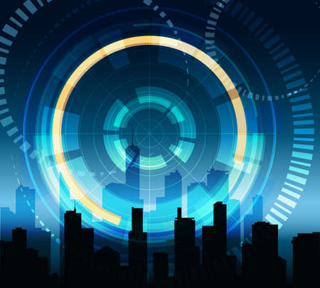 Futuristic background with hologram touch panel and modern city buildings.