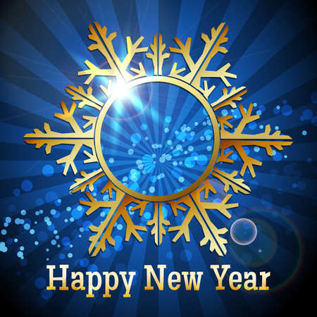 Golden Snowflake and wording Happy New Year against festive blue background.