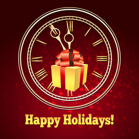Gift box with red bow against the clock and wording Happy Holidays on red background