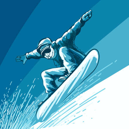 Jumping snowboarder. Colorful illustration in sketch style. Illustration