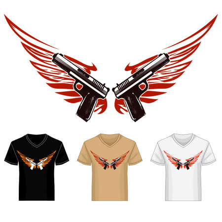 Two guns guns with wings shirt template. Illustration in tattoo style.