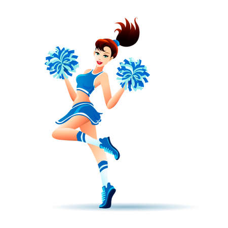 Young cheerleader dancing with pom poms. Isolated on white.