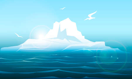 Colorful illustration of Arctic iseberg in the northern sea.