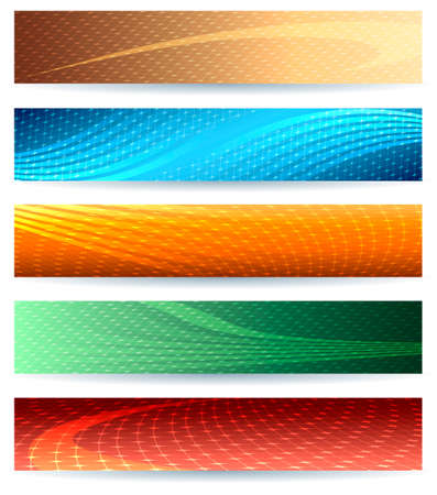 Abstract wavy header or banner set. Isolated on white.