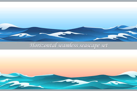 Seamless horizontal pattern set with blue waves and sky Illustration